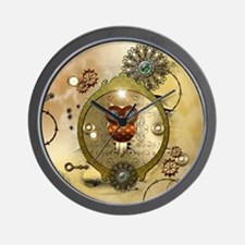 Steampunk, cute owl Wall Clock