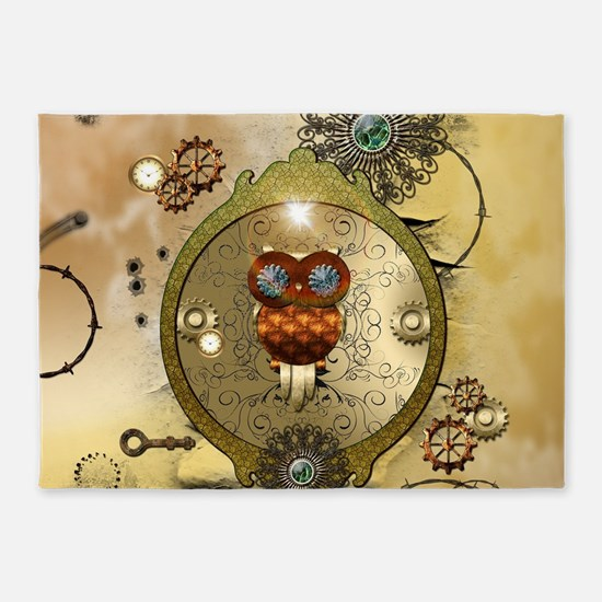 Steampunk, cute owl 5'x7'Area Rug