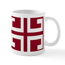 Crimson and White Tile Mugs