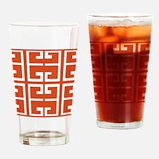 Dark Orange Tile Drinking Glass