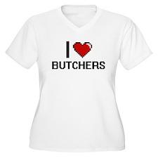 I Love Butchers Digitial Design Plus Size T-Shirt