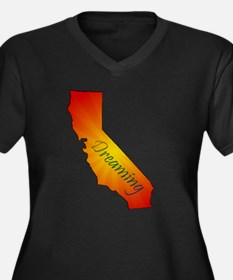 Cool California the golden state Women's Plus Size V-Neck Dark T-Shirt