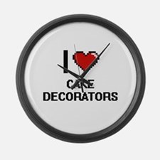 I love Cake Decorators Digitial D Large Wall Clock
