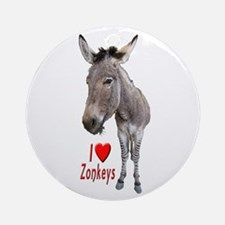 Helaine's I Love Zonkeys Ornament (round)