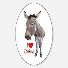 Helaine's I Love Zonkeys Sticker (oval)
