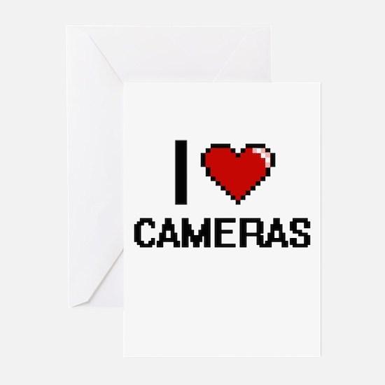 I love Cameras Digitial Design Greeting Cards