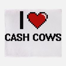 I love Cash Cows Digitial Design Throw Blanket