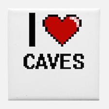 I love Caves Digitial Design Tile Coaster