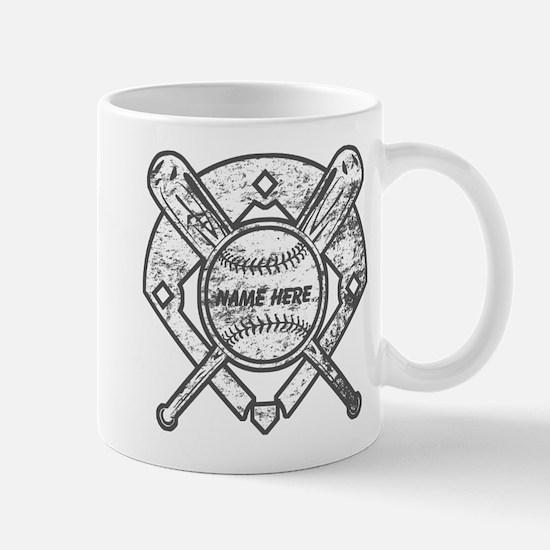 Personalized Ball Bats Diamond Mugs