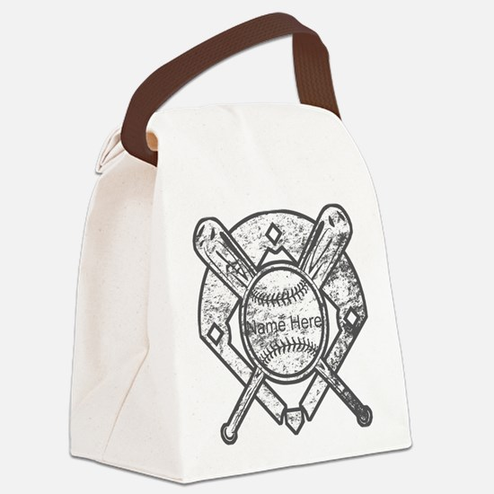 Personalized Ball Bats Diamond Canvas Lunch Bag