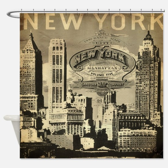 Vintage USA New York Shower Curtain