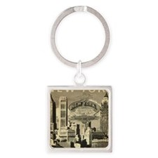 Vintage USA New York Square Keychain