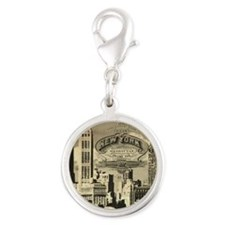Vintage USA New York Silver Round Charm