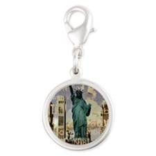cool statue of liberty Silver Round Charm