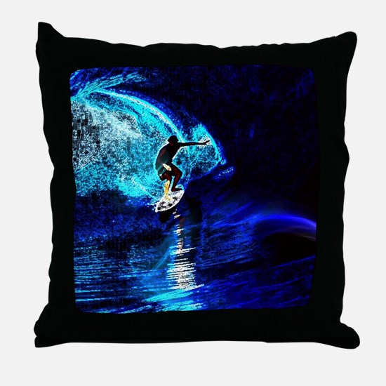 beach blue waves surfer Throw Pillow