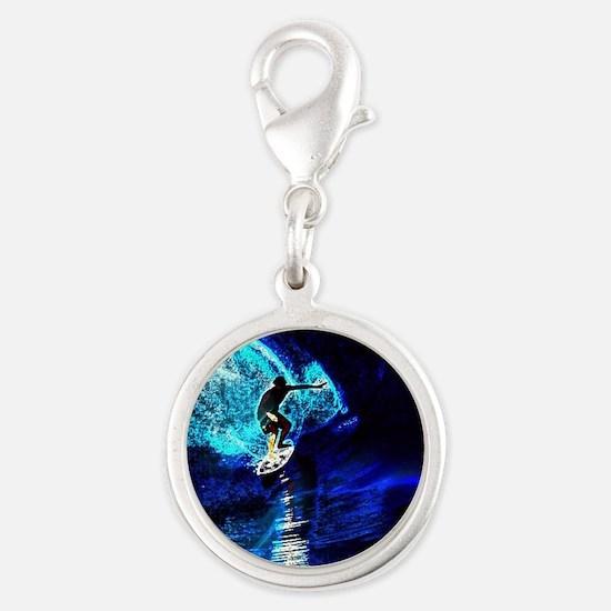 beach blue waves surfer Silver Round Charm