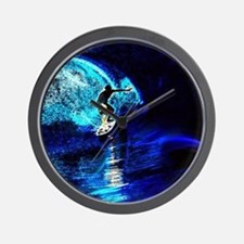 beach blue waves surfer Wall Clock