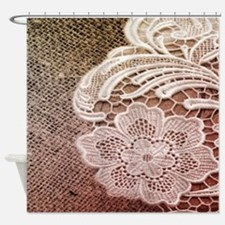 western country burlap lace Shower Curtain