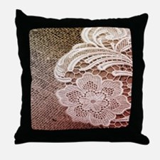 western country burlap lace Throw Pillow