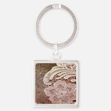 western country burlap lace Square Keychain