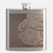 western country burlap lace Flask