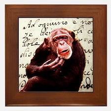 funny chimpanzee Framed Tile