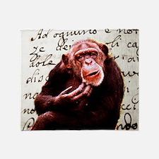funny chimpanzee Throw Blanket