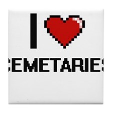 I love Cemetaries Digitial Design Tile Coaster