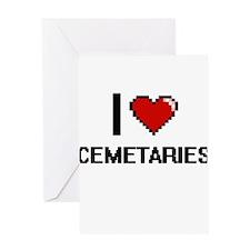 I love Cemetaries Digitial Design Greeting Cards