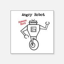 """Angry Robot Square Sticker 3"""" X 3"""""""