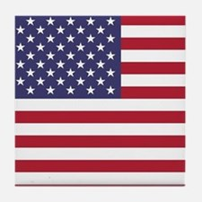 USA flag authentic version Tile Coaster