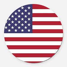 USA flag authentic version Round Car Magnet