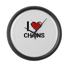 I love Chains Digitial Design Large Wall Clock