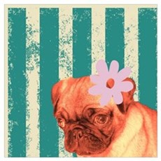 retro stripes girly pug Poster