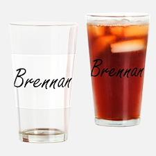 Brennan surname artistic design Drinking Glass