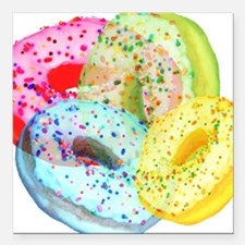 """Rainbow Donuts Square Car Magnet 3"""" x 3"""""""