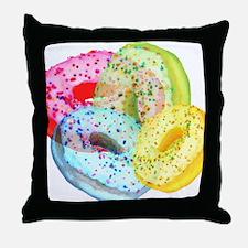 Rainbow Donuts Throw Pillow