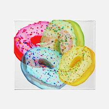 Rainbow Donuts Throw Blanket