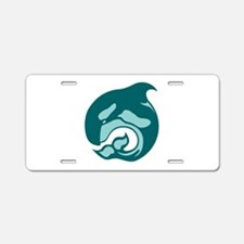 killer whale by asyrum Aluminum License Plate