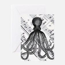 vintage nautical steampunk octopus Greeting Cards