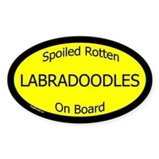 Spoiled Labradoodles On Board Oval Decal