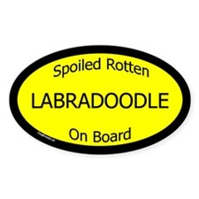 Spoiled Labradoodle On Board Oval Decal