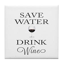 Save Water Drink Wine Tile Coaster