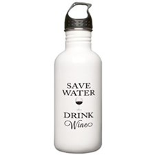 Save Water Drink Wine Sports Water Bottle