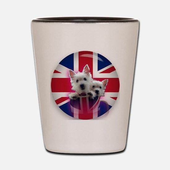 2 westie pups in a mug Shot Glass