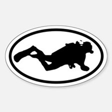 Scuba Diver Oval Decal