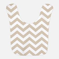 Brown, Beige: Chevron Pattern Polyester Baby Bib