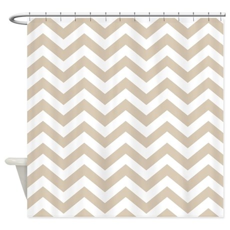 Brown Beige Chevron Pattern Shower Curtain By Colors And
