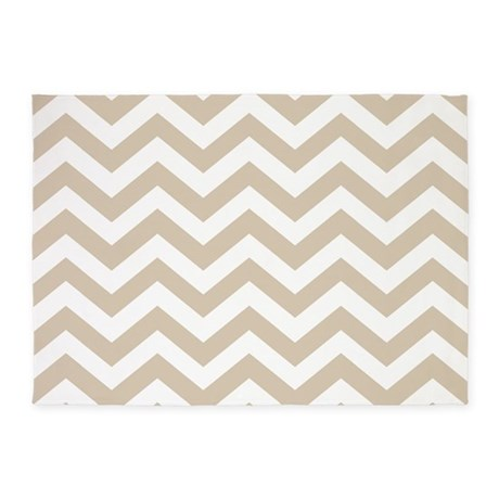 Brown, Beige: Chevron Pattern 5u0027x7u0027Area Rug