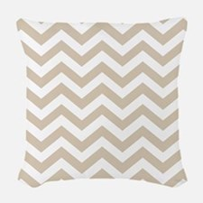 Brown, Beige: Chevron Pattern Woven Throw Pillow